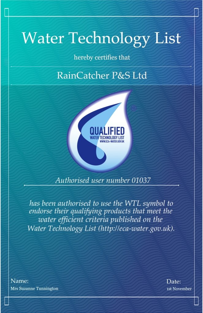RainCatcher Funding - Water Technology List Certificate