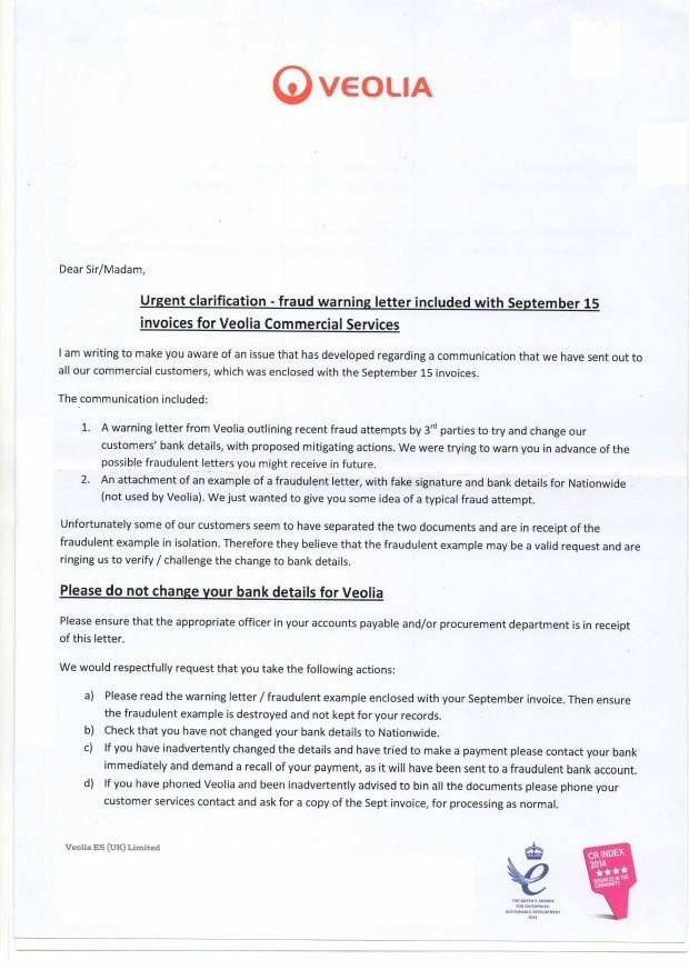 RainCatcher Blog - Veolia Scam Letters