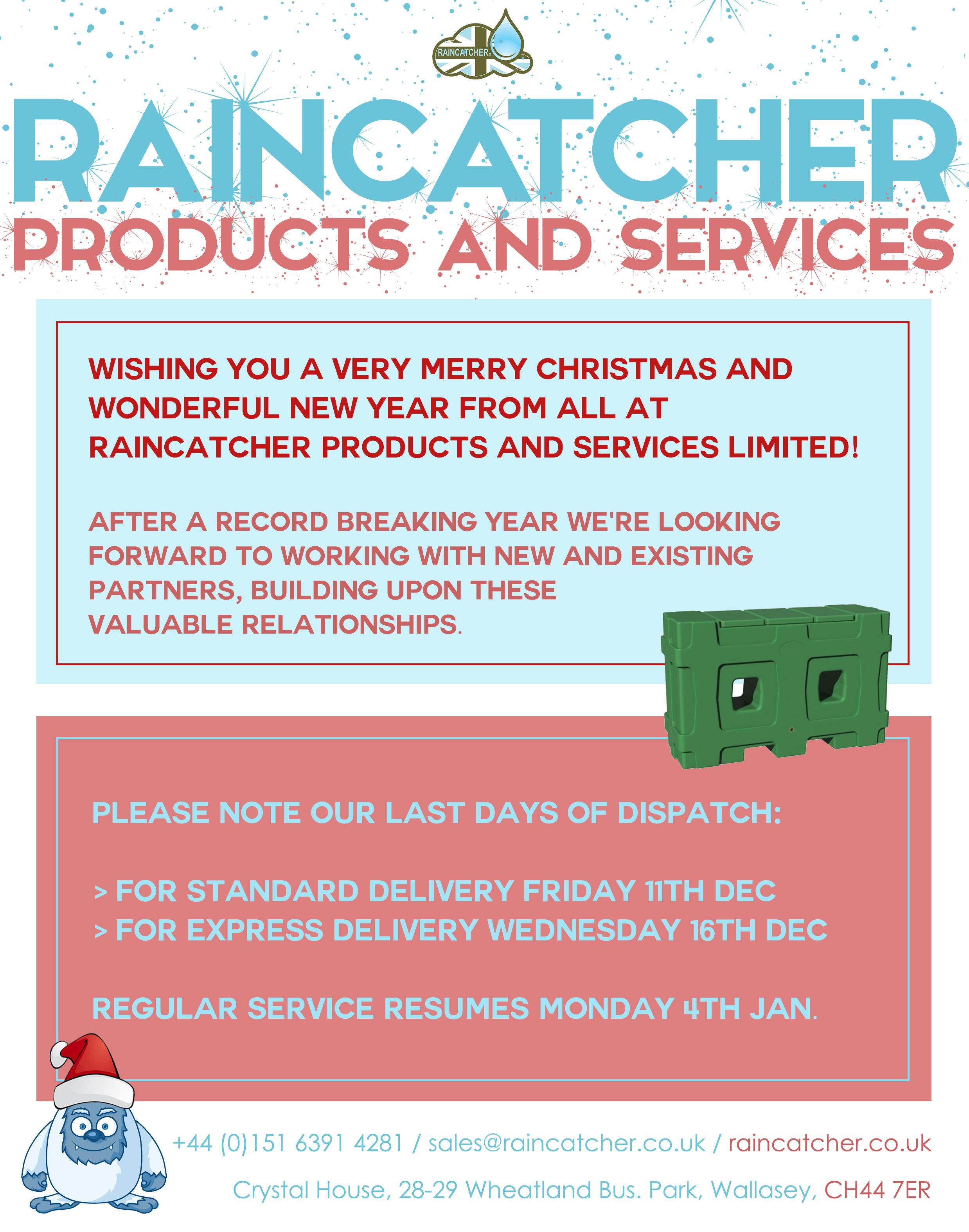 RainCatcher - Christmas Notice